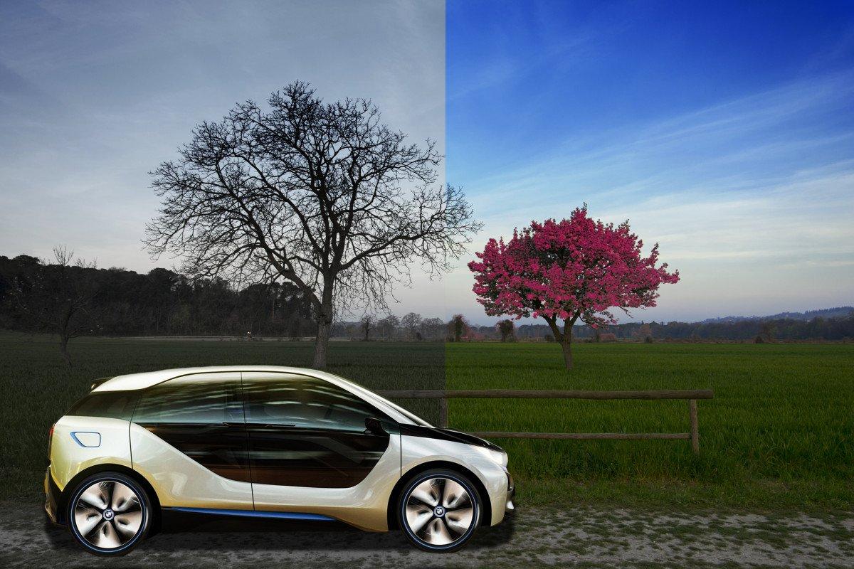 Lo scorrere del tempo(pass.pres.futu.)rappresentato dalle 2 stagioni.BMW i3 verso una nuova primavera dell'ecosostenibile e un mondo pulito.
